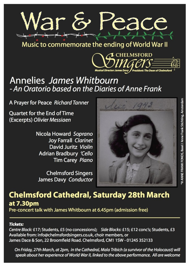 Remembering anne frank in words and music chelmsford singers for Anne frank musical
